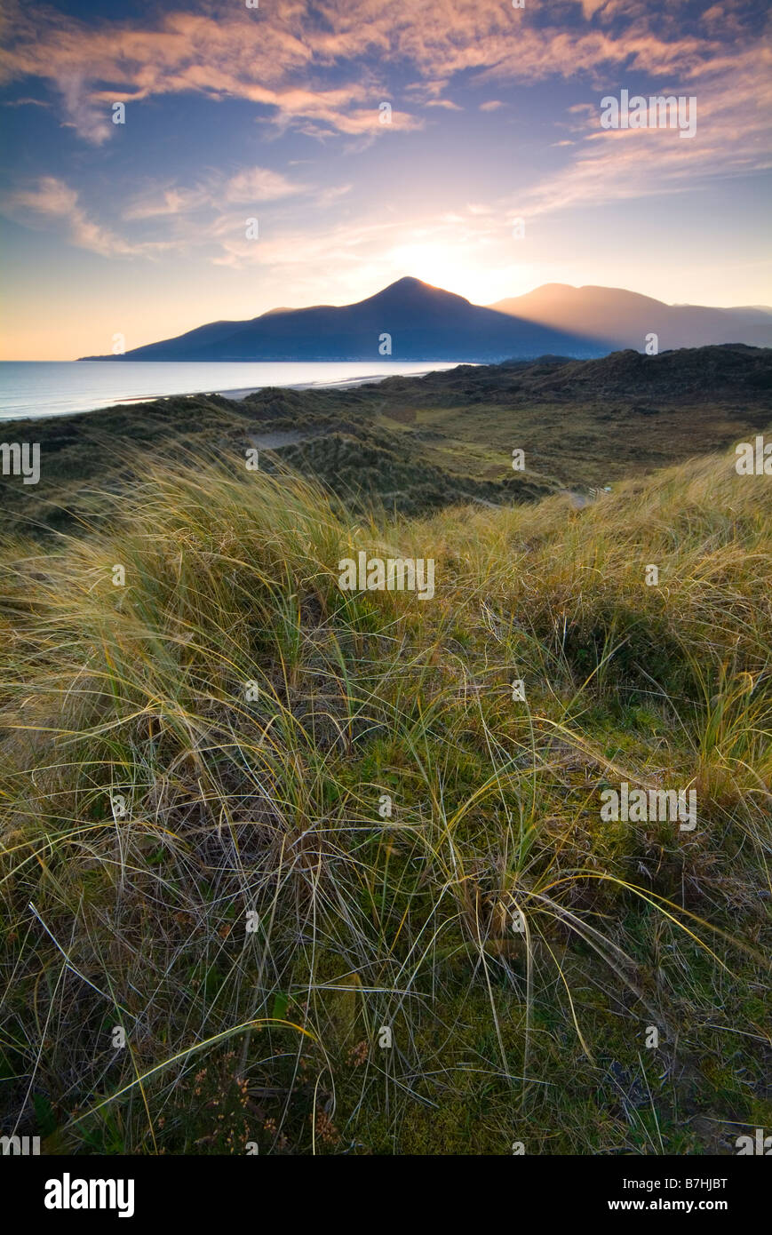 Irish Landscape image of dunes, beach and coast at Murlough Beach, Dundrum Bay, Newcastle, County Down, Northern - Stock Image
