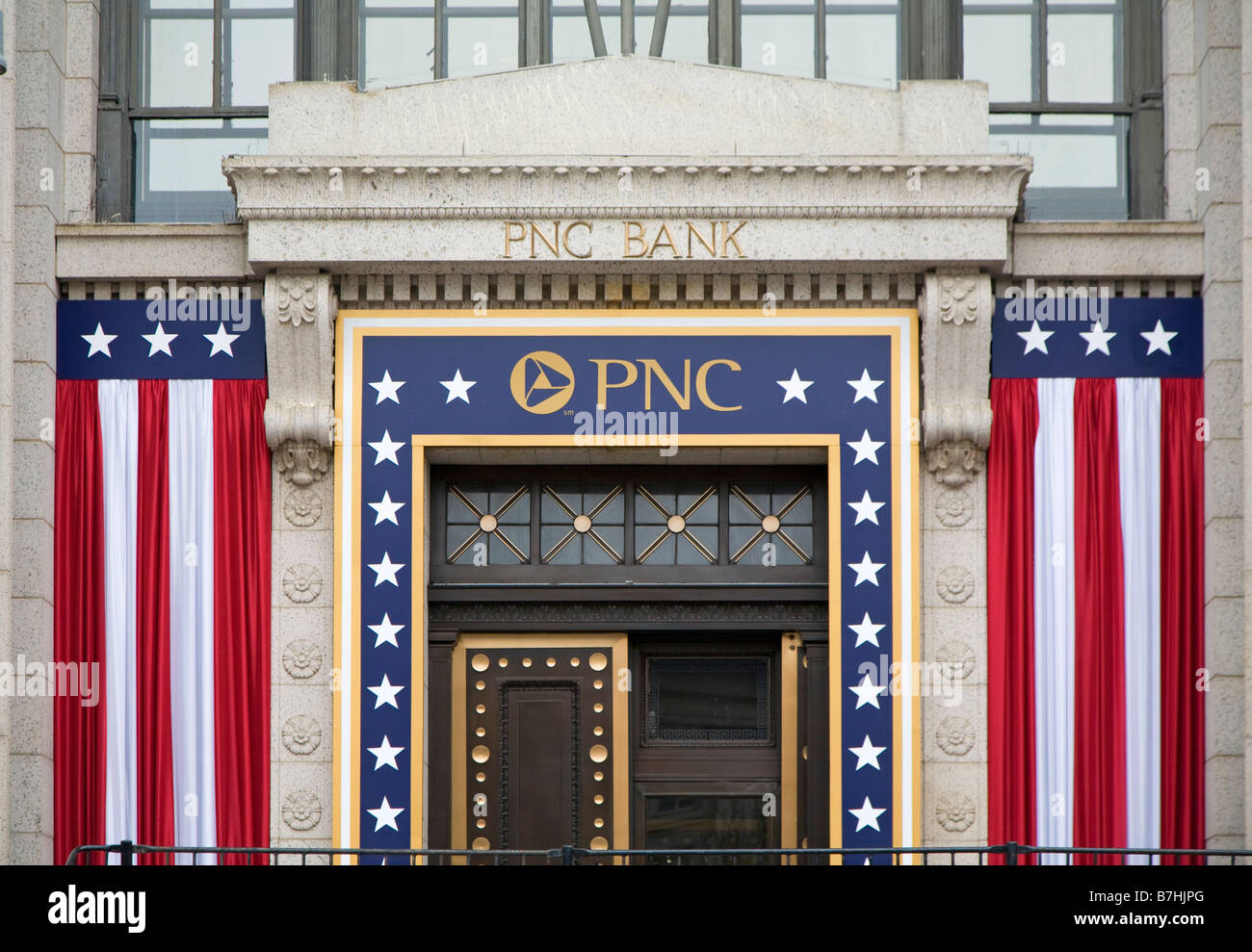 Washington DC A bank decorated with patriotic bunting for the presidential inauguration of Barack Obama - Stock Image