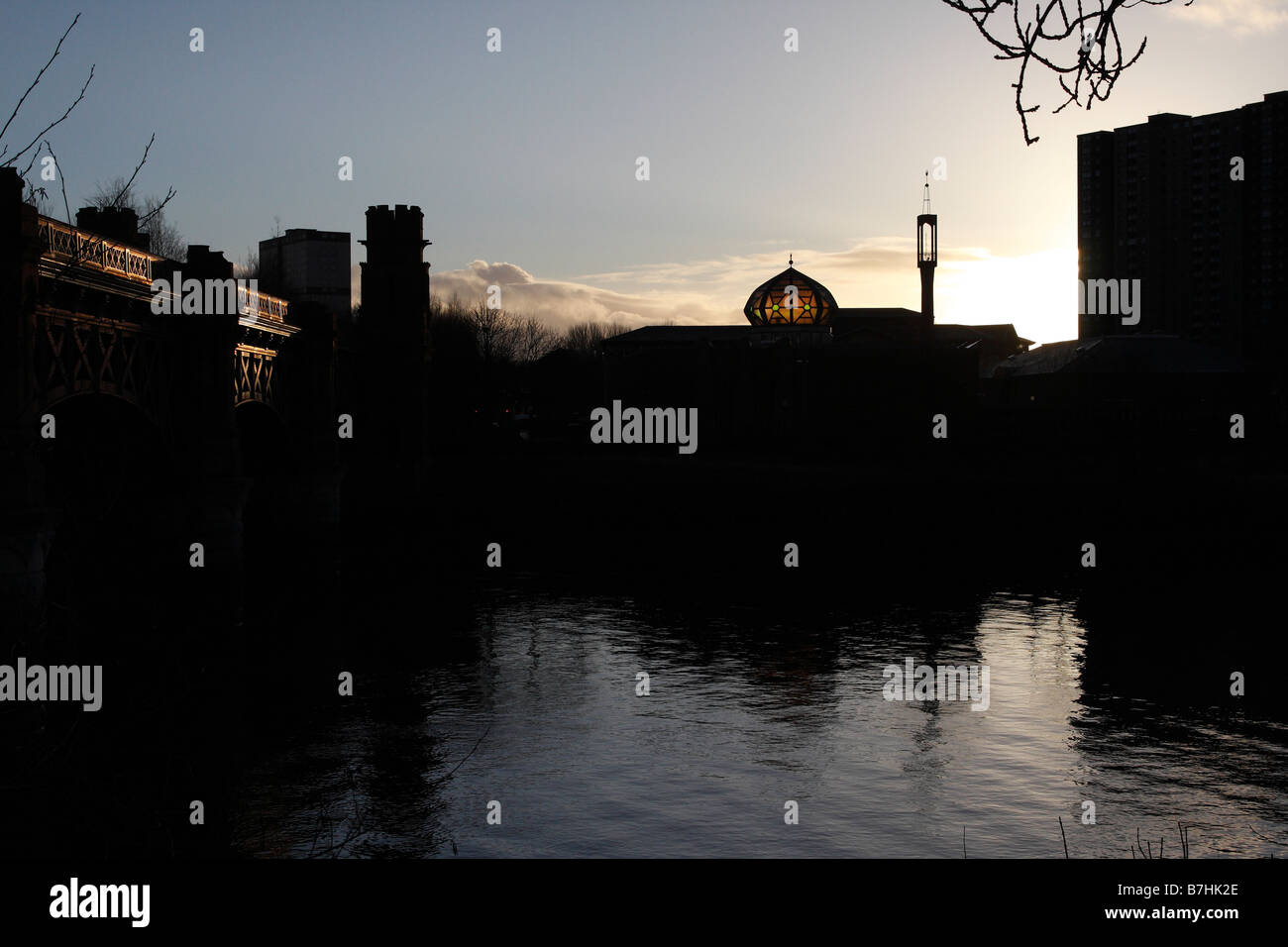 The dome of the mosque in central Glasgow by the River Clyde - Stock Image