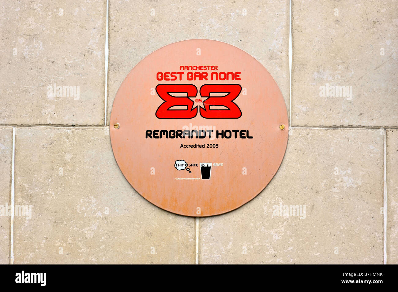 best bar none plaque rembrandt hotel canal street manchester gay village public house  entertainment award travel - Stock Image