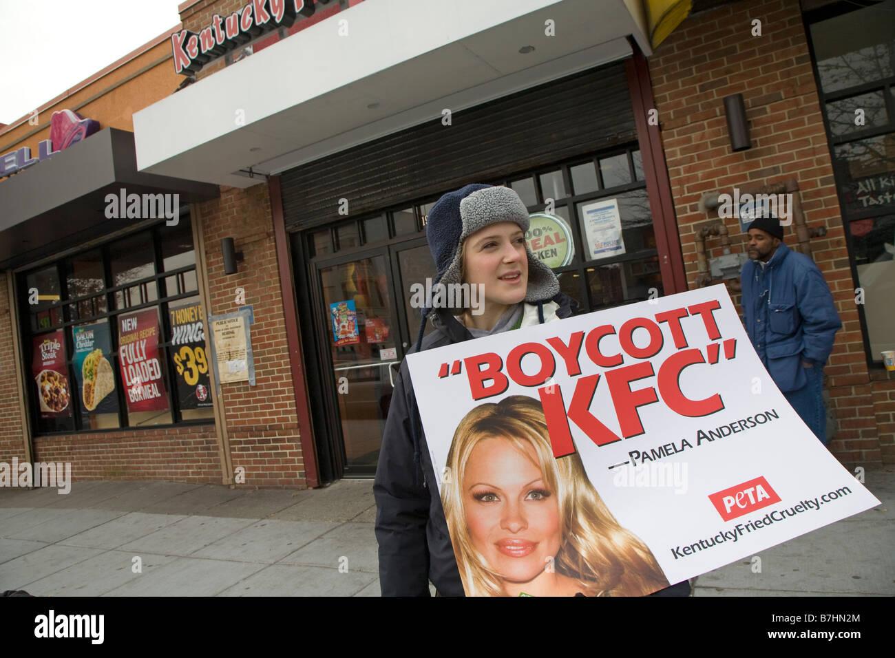 Animal Rights Activists Call for Boycott of KFC Stock Photo