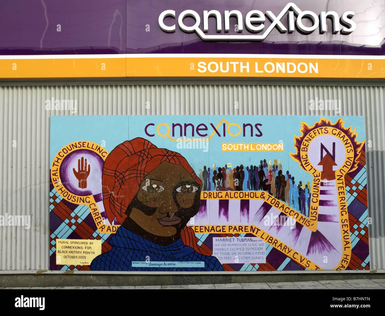 Connexions Sponsored Mural on Black History Harriet Tubman Slave Heroine - Stock Image