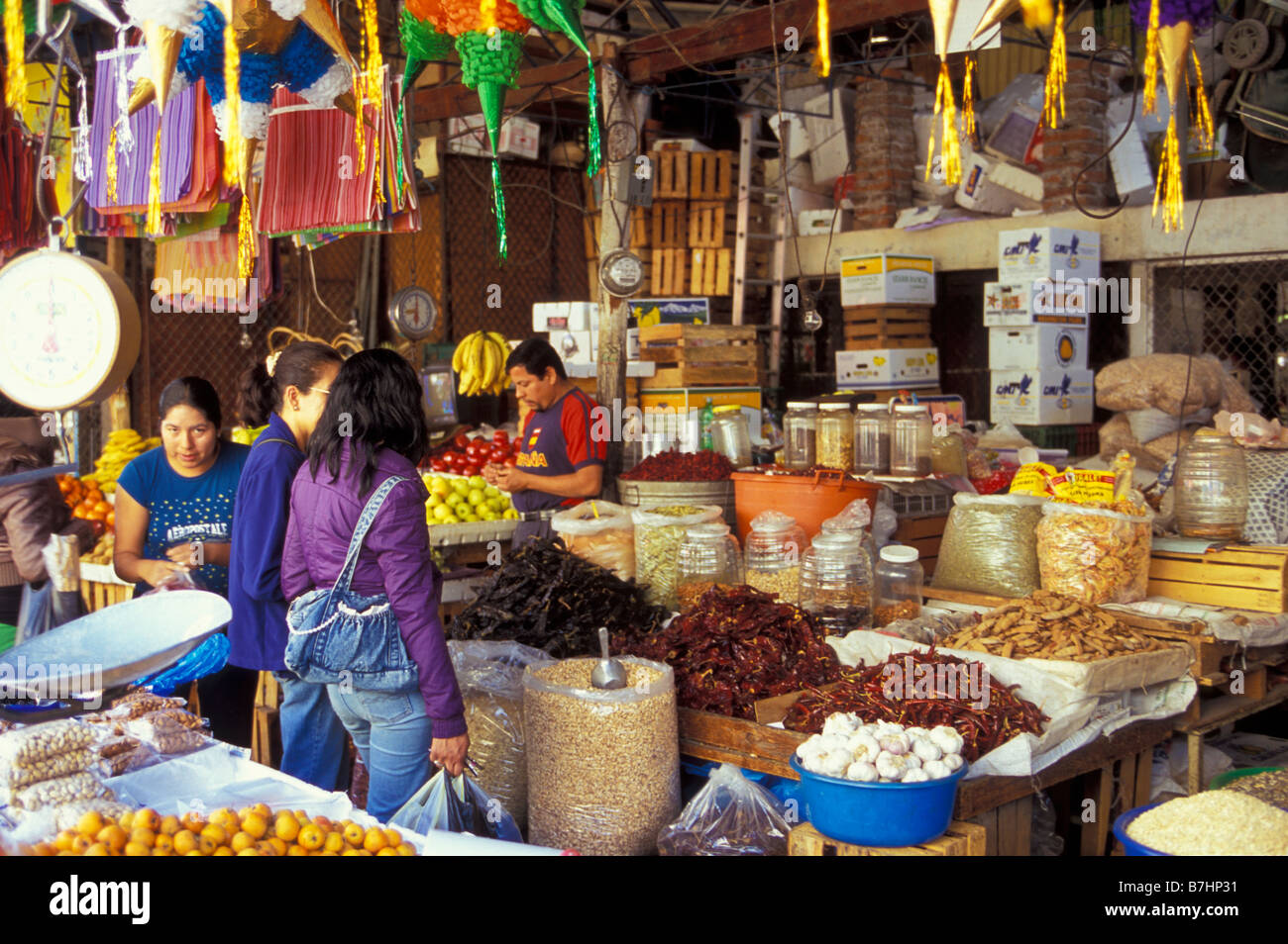 Mexican women shopping at the vegetable market in Zamora Michoacan Mexico - Stock Image