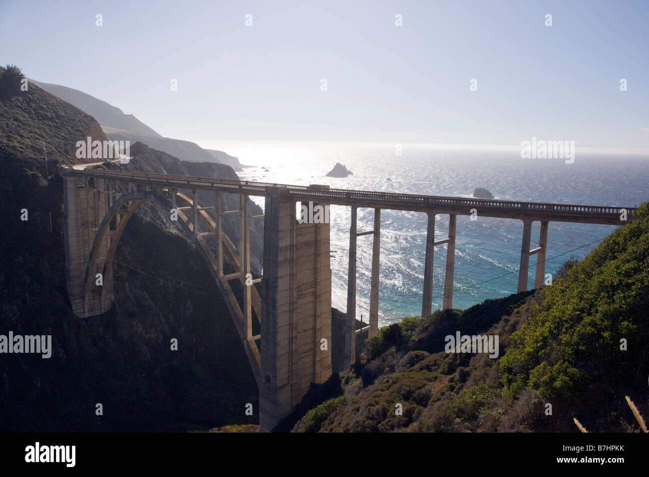 Bixby Bridge, Highway 1, Big Sur, Pacific coast, California, USA - Stock Image