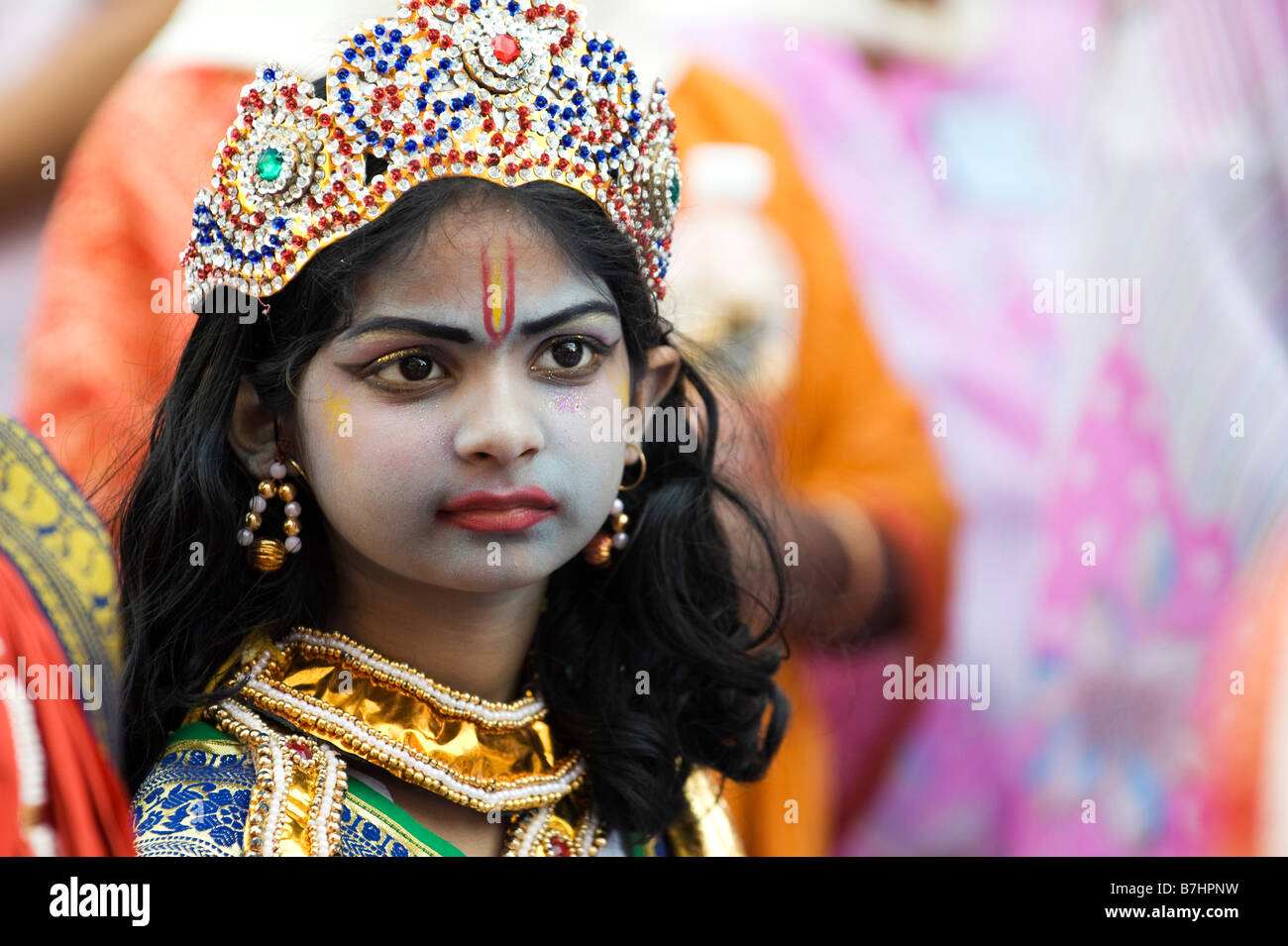 Indian Child Dressed Up As The Hindu God Rama For A Street