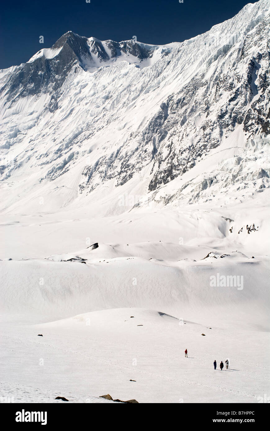 Four trekkers walk over the snow below Tilicho Peak on the approach to Tilicho Lake. Annapurna mountains, Nepal - Stock Image