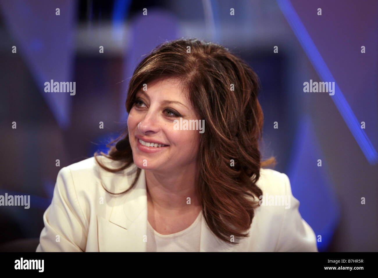 Jan 8, 2009 - Las Vegas, Nevada, USA - NBC financial expert MARIA BARTIROMO broadcasts live on CNBC at CES electronics - Stock Image