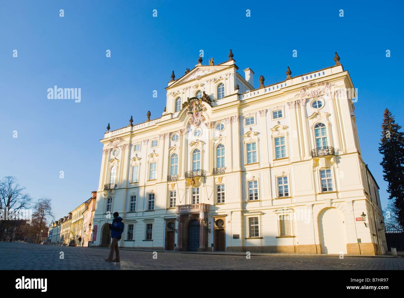Arcibiskupsky palac at Hradcanske namesti square in Hradcany district of Prague Czech Republic Europe Stock Photo
