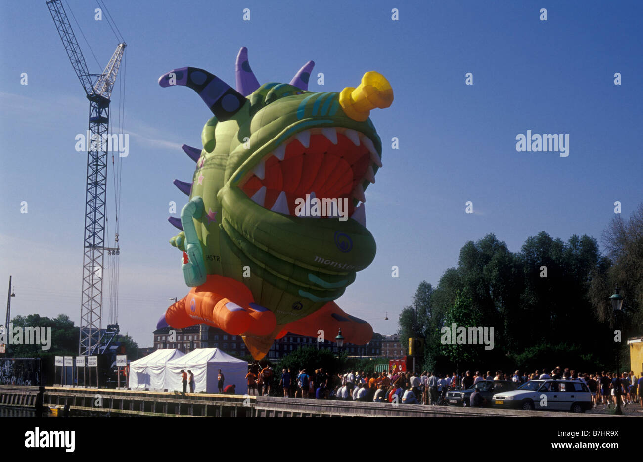 A large creature balloon at the start of the Copenhagen marathon - Stock Image