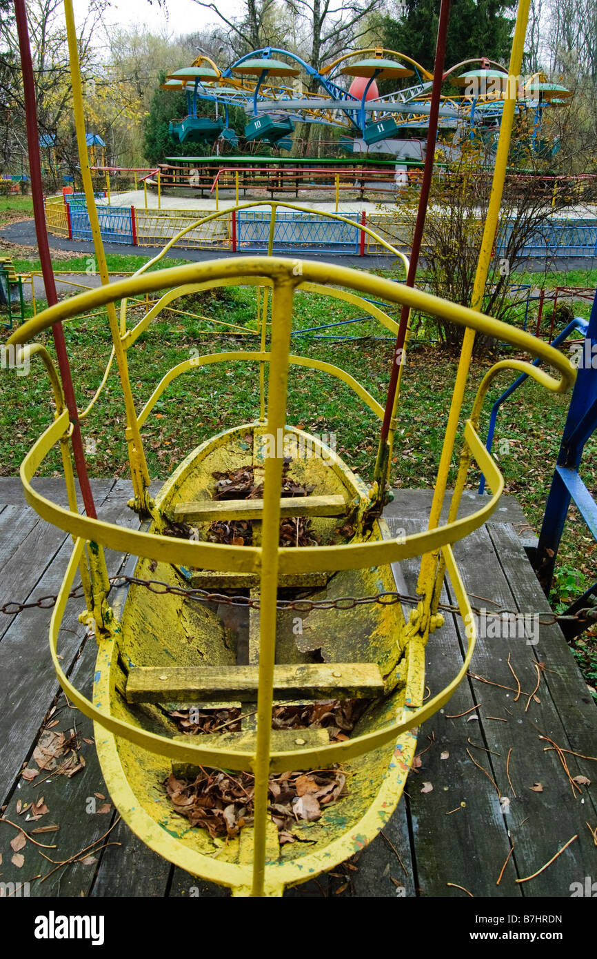 Old And Abandoned Amusement Park Rides Like Carousels And Merry Go Stock Photo Alamy