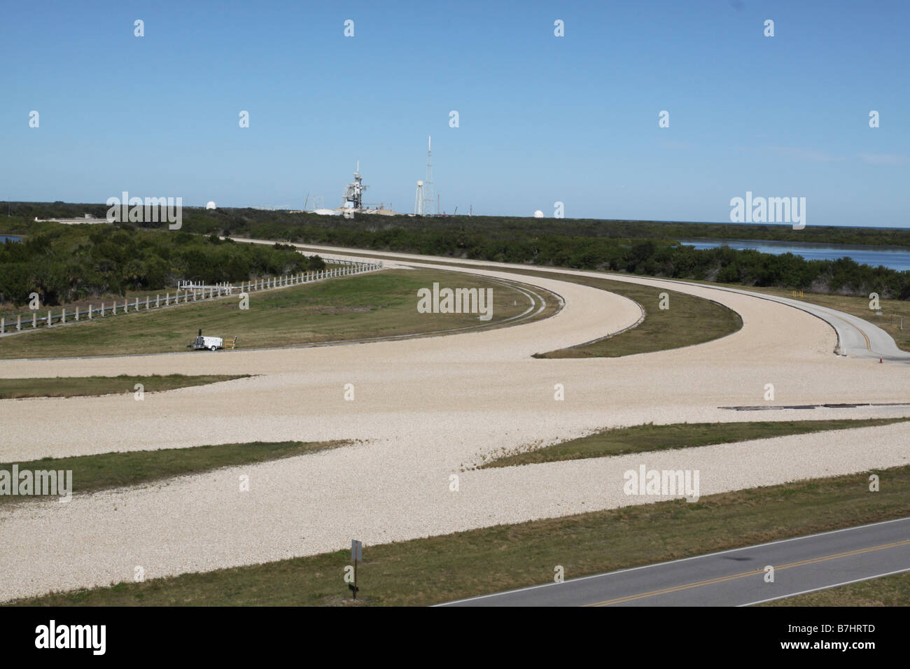 NASA Launch Pad 39B road Kennedy Space Center Cape Canaveral - Stock Image