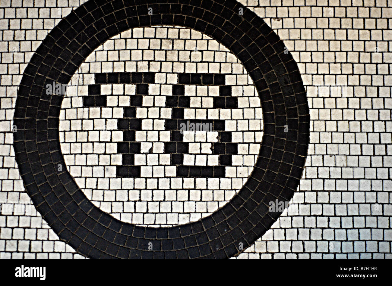 The number 76 made out of little tiles - Stock Image