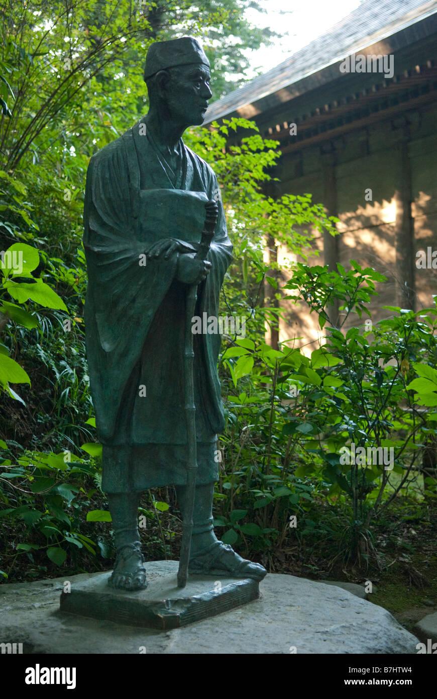 A statue of Matsuo Basho at Chusonji temple, Hiraizumi, Japan 28 August 2008. Stock Photo