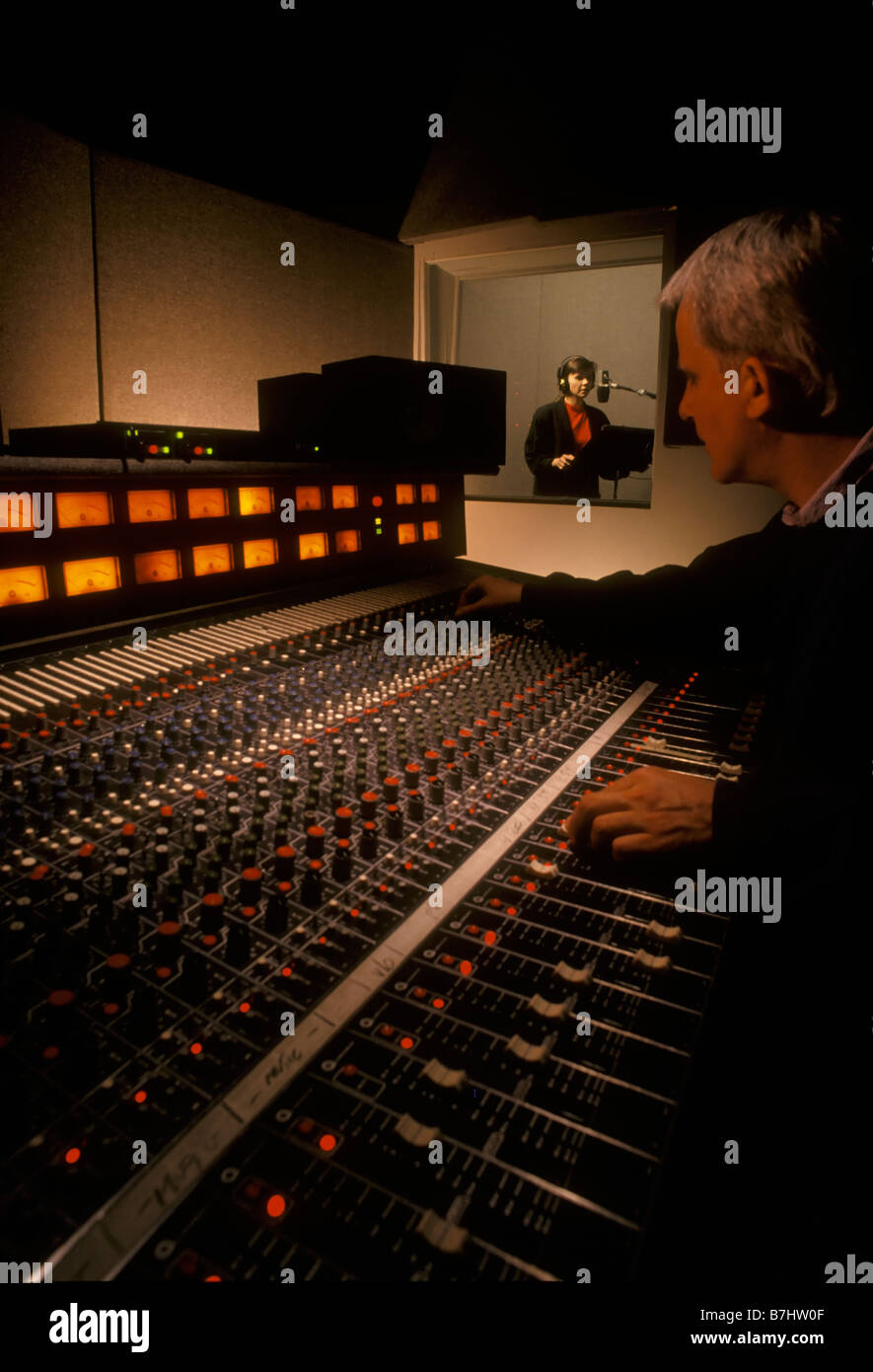 Sound Engineer and talent in sound recording studio. Vancouver, BC, Canada Stock Photo