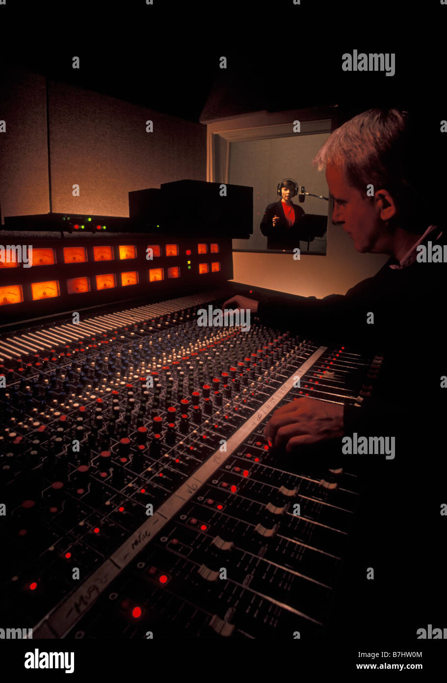Sound Engineer and talent in sound recording studio. Vancouver, BC, Canada. Stock Photo