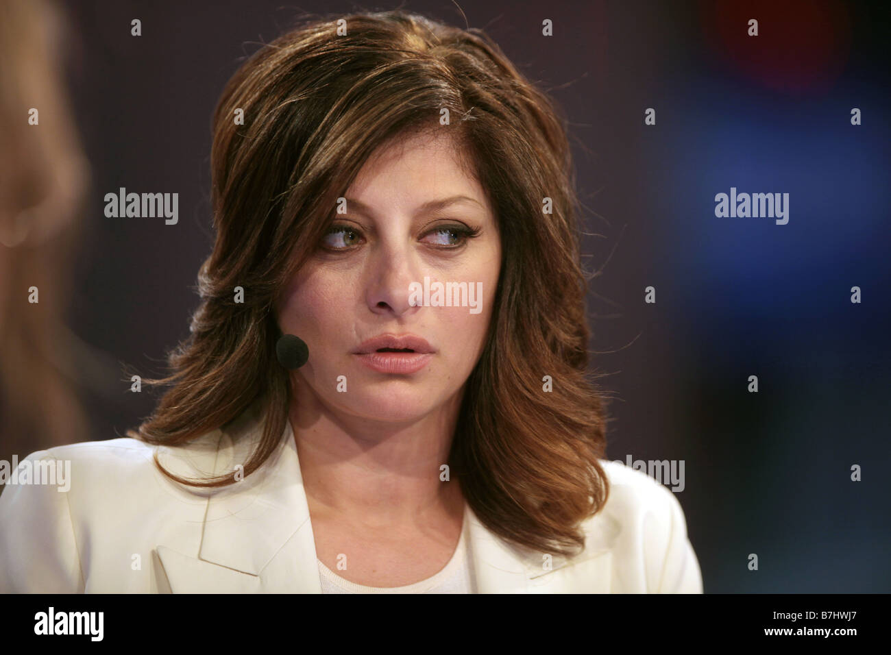 Jan 8, 2009 - Las Vegas, Nevada, USA - NBC financial expert MARIA BARTIROMO broadcasts live on CNBC during CES electronics - Stock Image