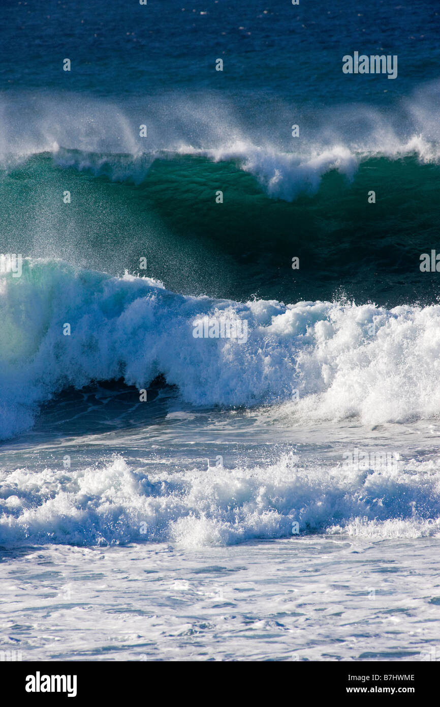 Pacific Ocean waves crashing ashore near seal Rock Picnic Area, Pebble Beach, Monterey Peninsula, California, USA - Stock Image