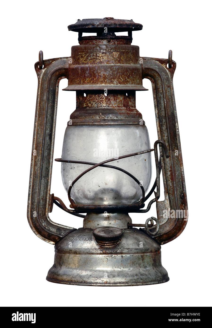 antique kerosene lamp - lighting equipment - isolated - Stock Image