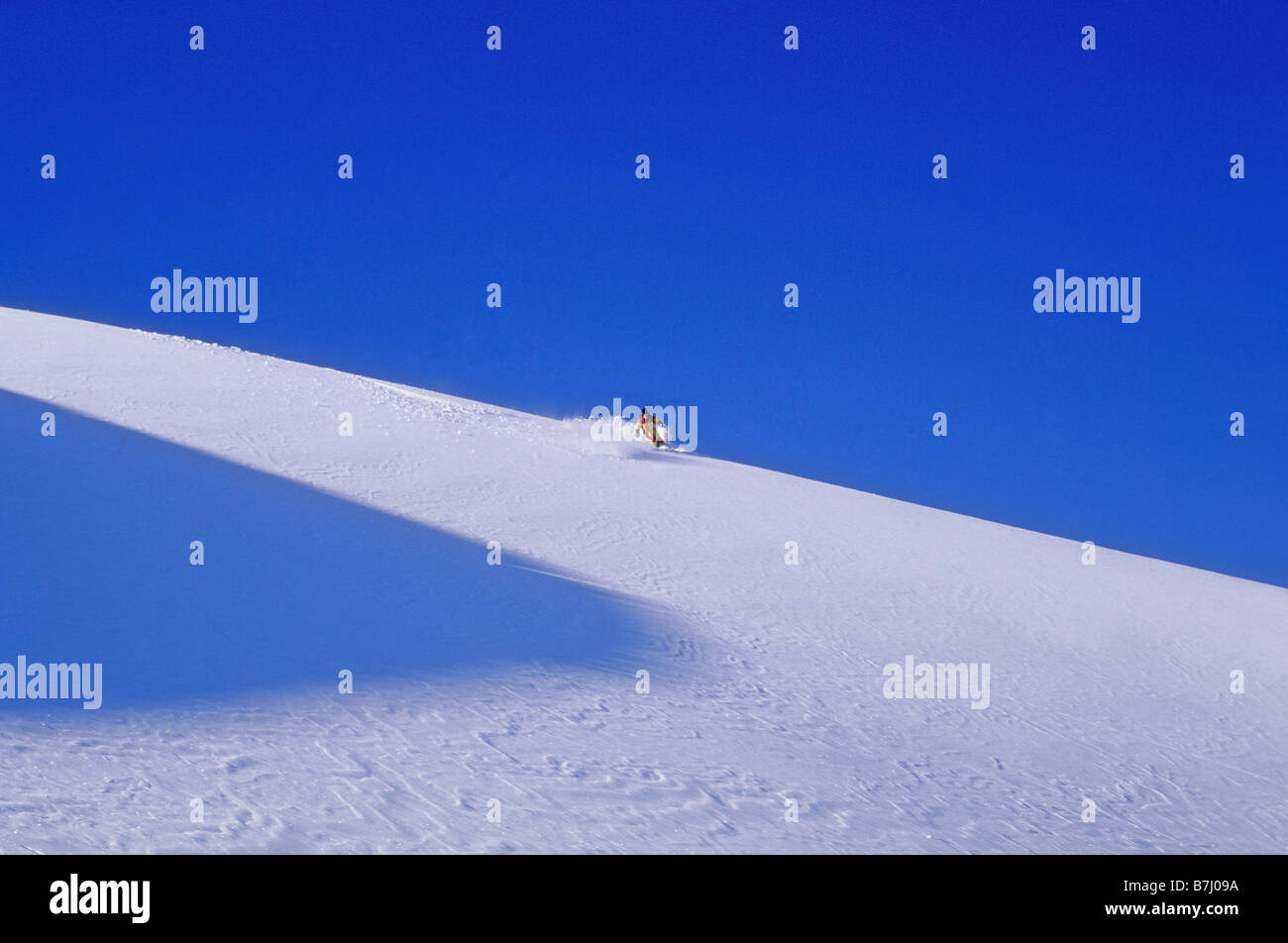 Heli-skier on clean mountain glacier, blue sky, Pemberton Ice Cap, B.C. - Stock Image