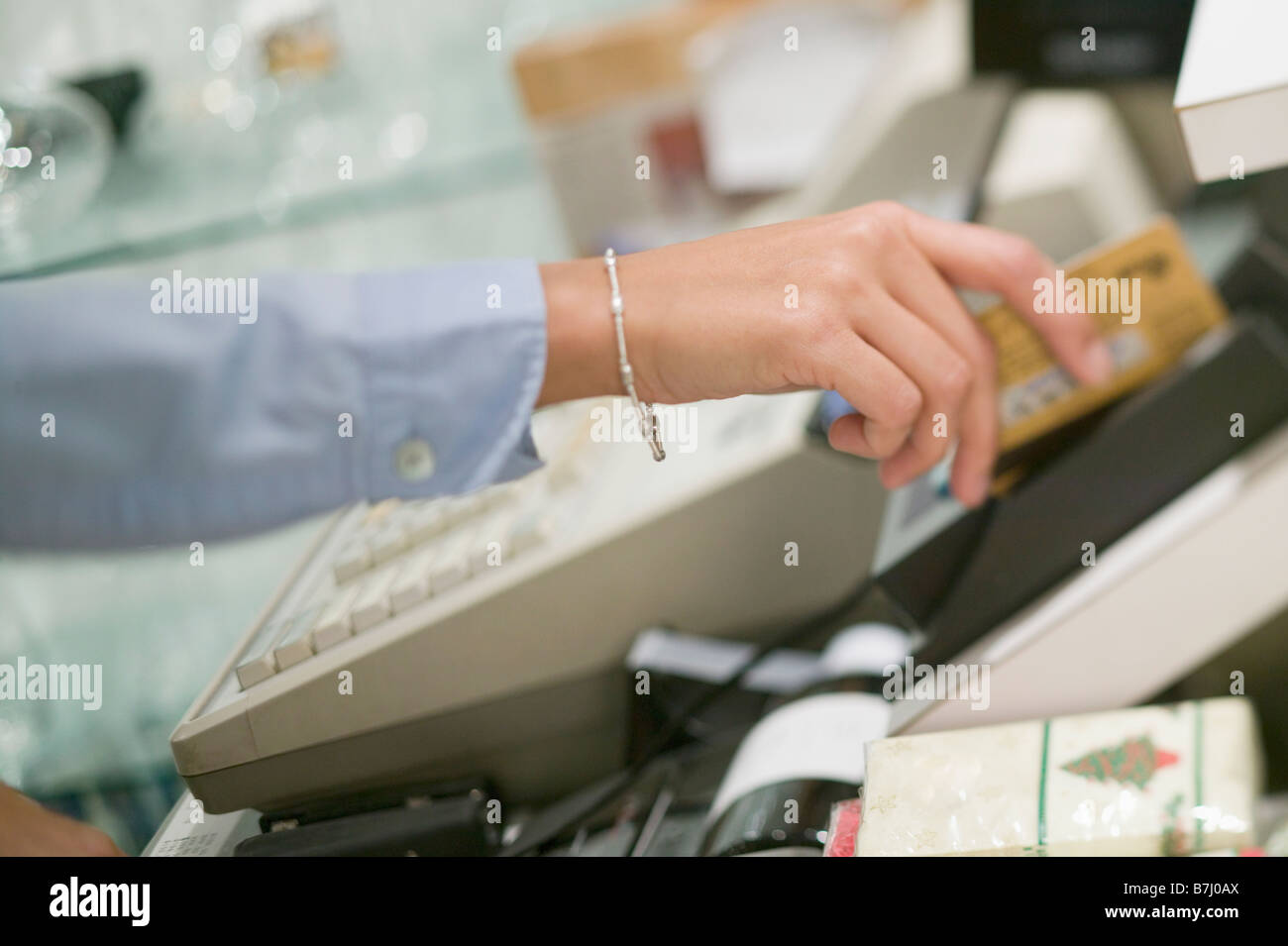 Swiping credit/debit card, Vancouver, B.C. Stock Photo