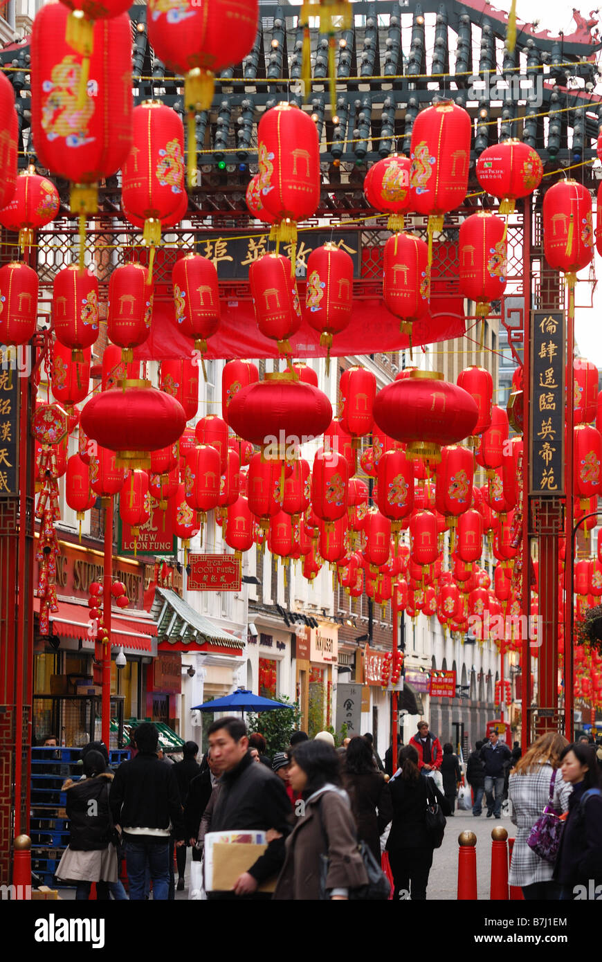 Chinese red lanterns in Gerrard Street London - Stock Image