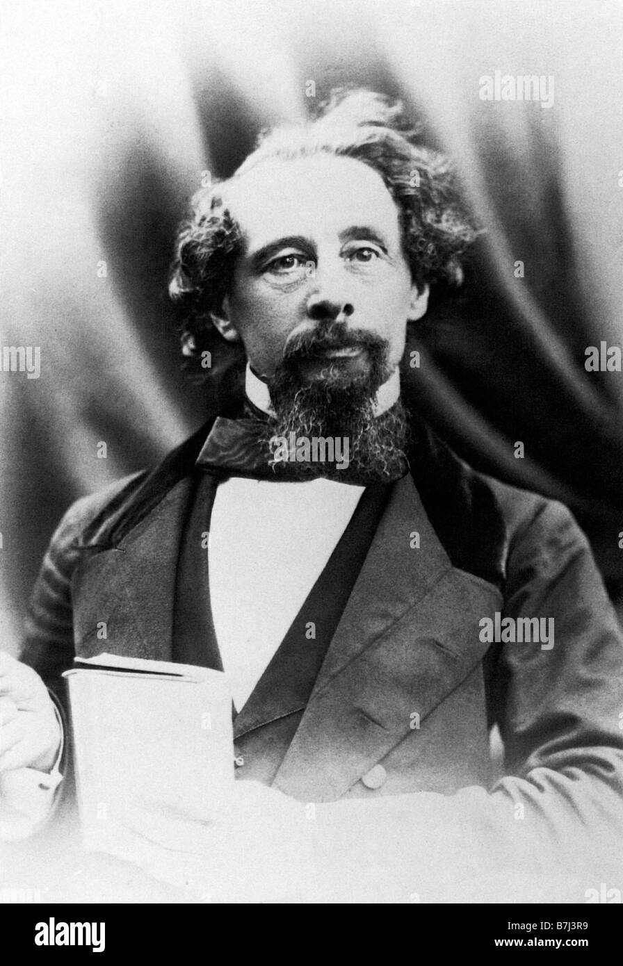 Charles Dickens 1858 photographic portrait of the Victorian author giving a reading - Stock Image