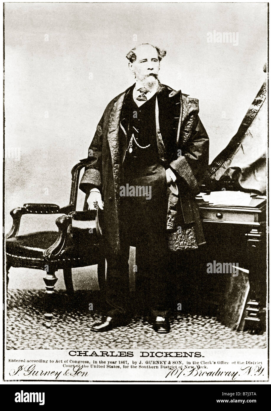 Charles Dickens in New York 1867 photographic portrait of the author by Gurney on his reading tour of the USA - Stock Image