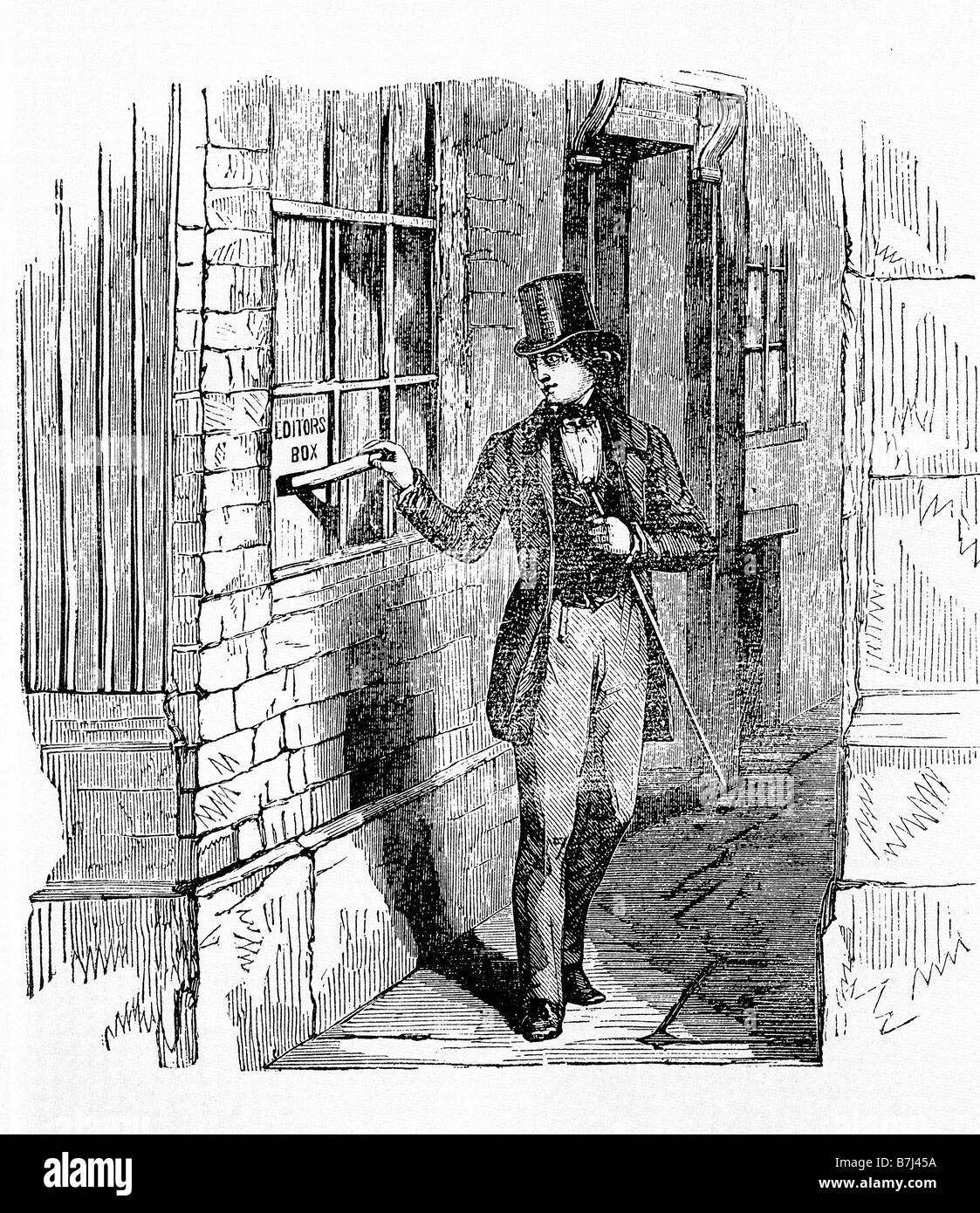 Charles Dickens Delivers His First Manuscript 1833 to the Monthly Magazine the start of Sketches by Boz - Stock Image