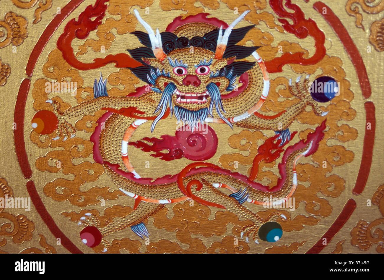 dragon painted on cabinet Leh gompa Ladakh Jammu and Kashmir India Stock  Photo - Alamy
