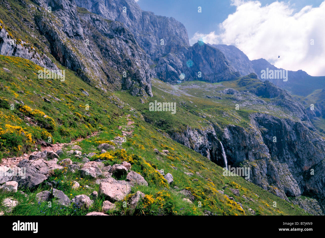 View to the mountain pics around Fuente De in the Nature Park Picos de Europa in Cantabria, Spain - Stock Image