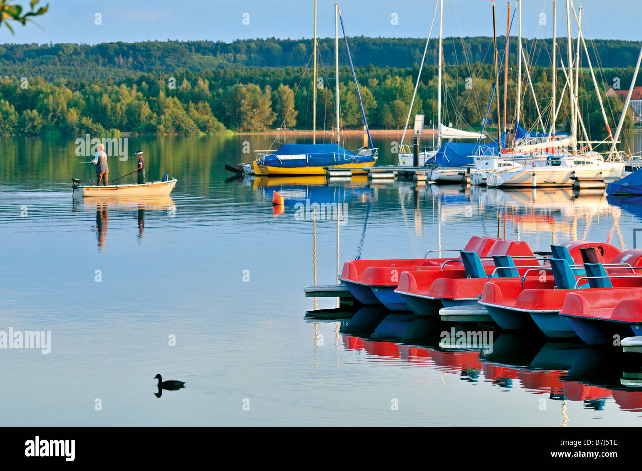 Fishing at the Small Brombach Lake in the bavarian holiday region Fränkisches Seenland in Germany Stock Photo