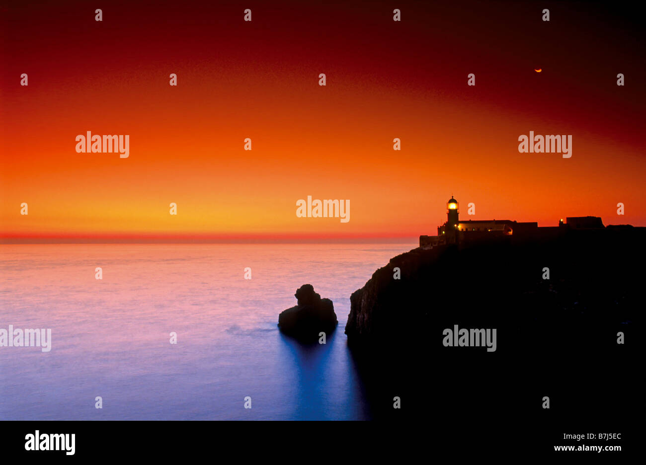 Sundown at Cape Saint Vincent, Natural Park Costa Vicentina, Algarve, Portugal Stock Photo