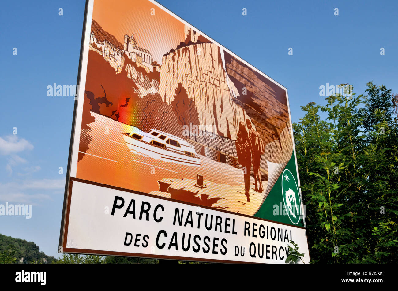 Signal of the Regional Nature Park Causses du Quercy, France - Stock Image