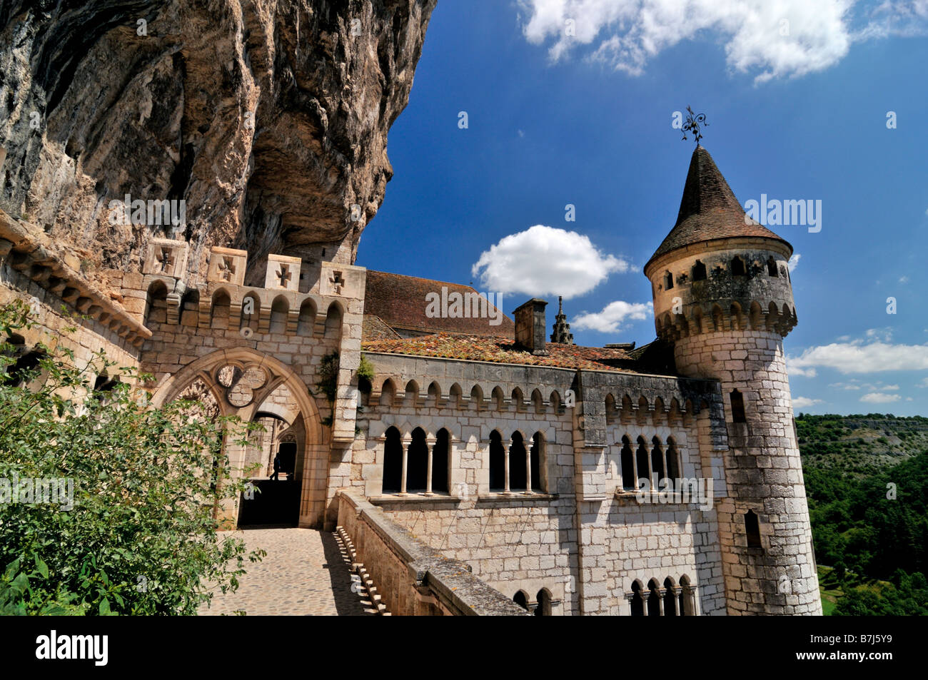 View to the Sanctuary of Rocamadour in France - Stock Image
