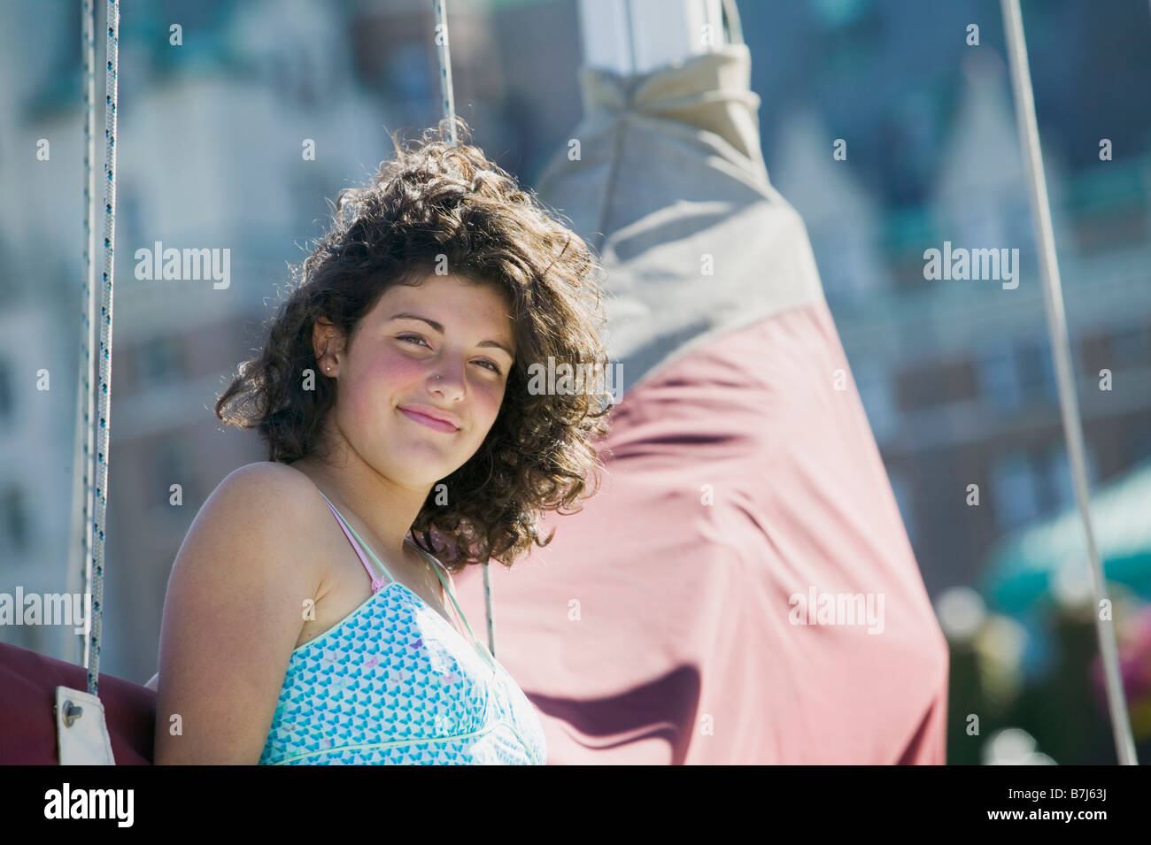 14 Year Old Girl On a Sailboat. Victoria, BC. - Stock Image
