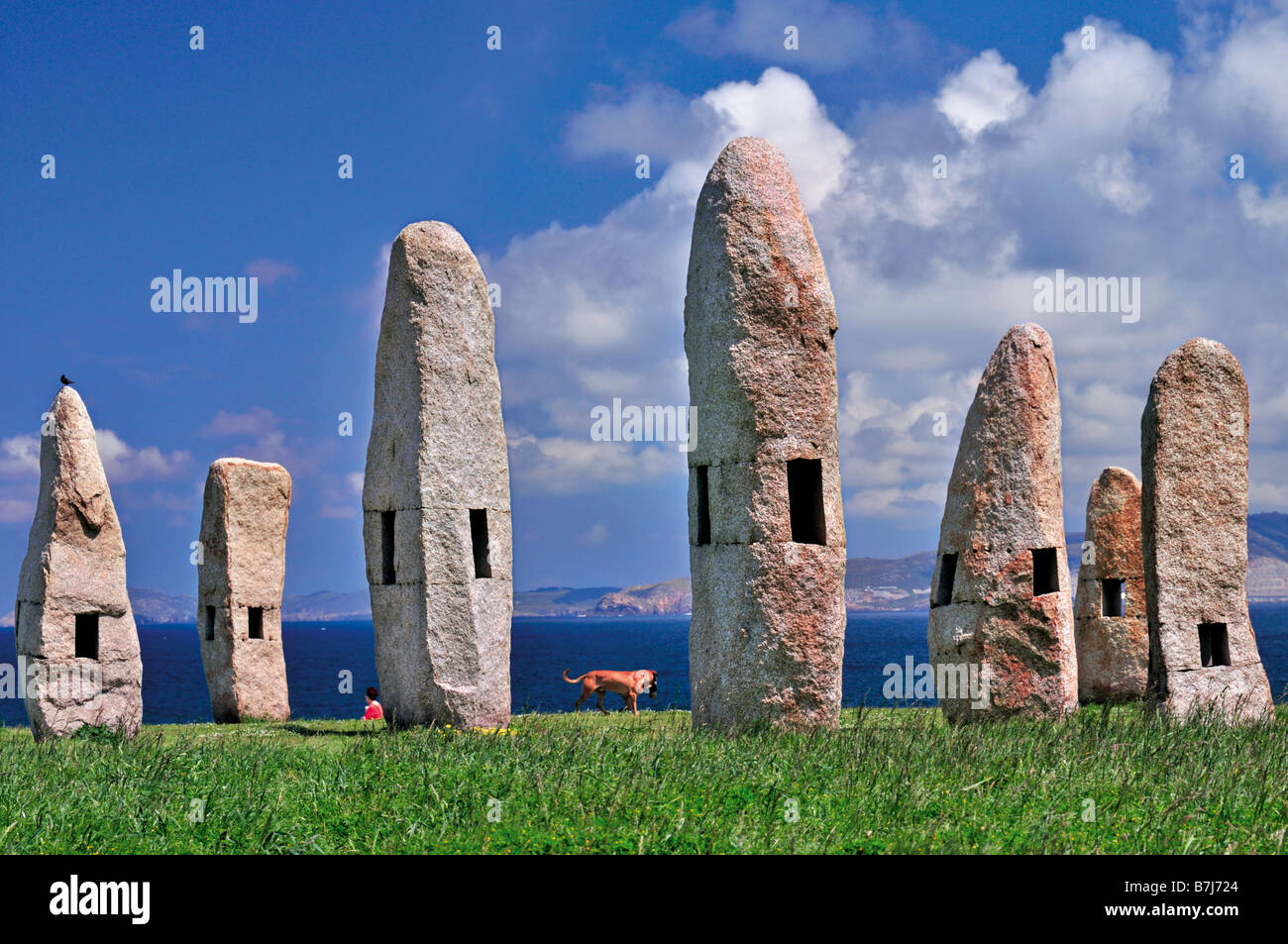 Menhirs´monument in the sculpture park Parque Celta in A Coruna, Galicia, Spain - Stock Image