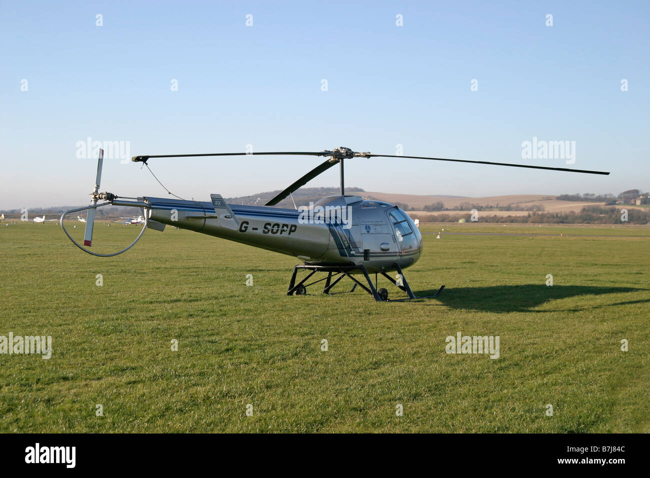 Helicopter parked at Shoreham Airport - Stock Image