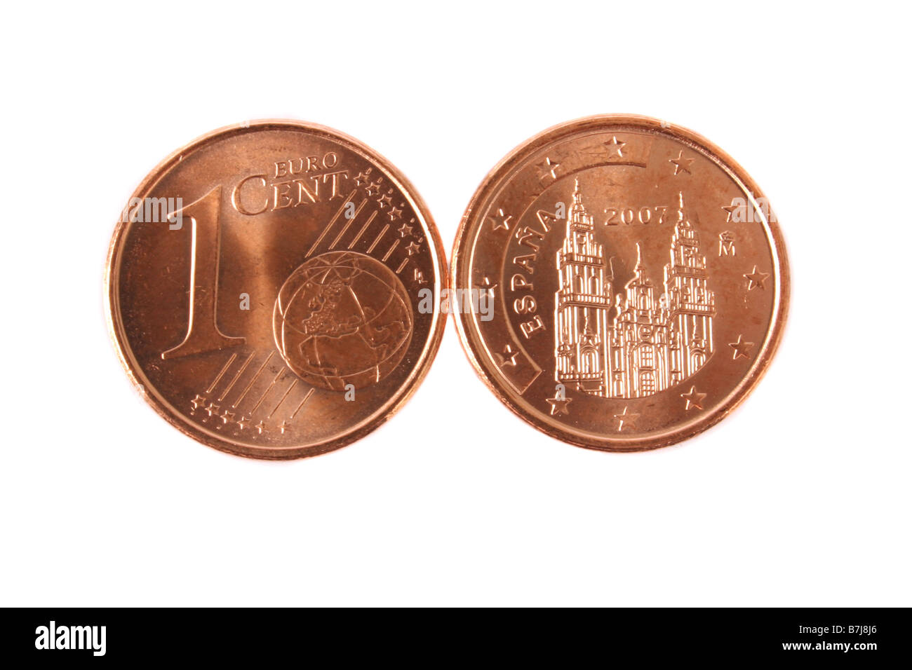 A Spanish 1 Cent Euro From 2007 Stock Image