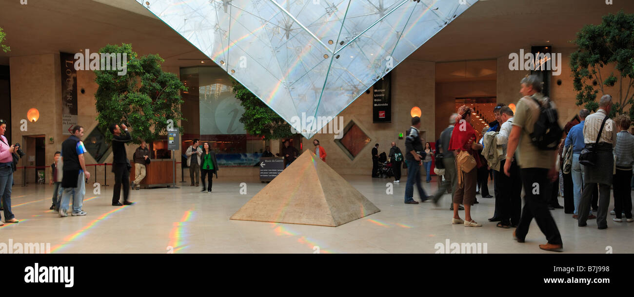 THE INVERTED PYRAMID IN THE SHOPPING MALL OF CARROUSEL DU LOUVRE - Stock Image