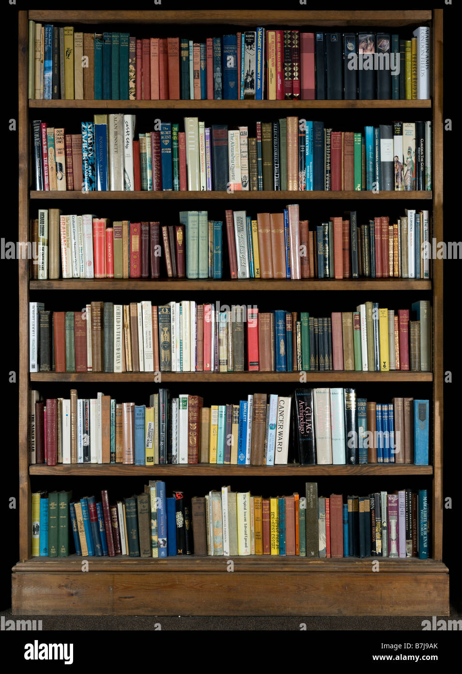 High Resolution Image Of Books On A Bookshelf On A Black Background - Stock Image