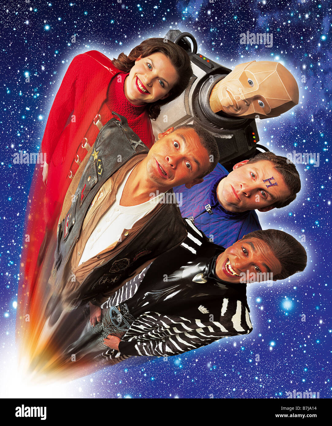 Red Dwarf characters from series 7 and 8. Chloe Arnett, Craig Charles, Danny John Jules, Robert Llewelyn, Chris - Stock Image