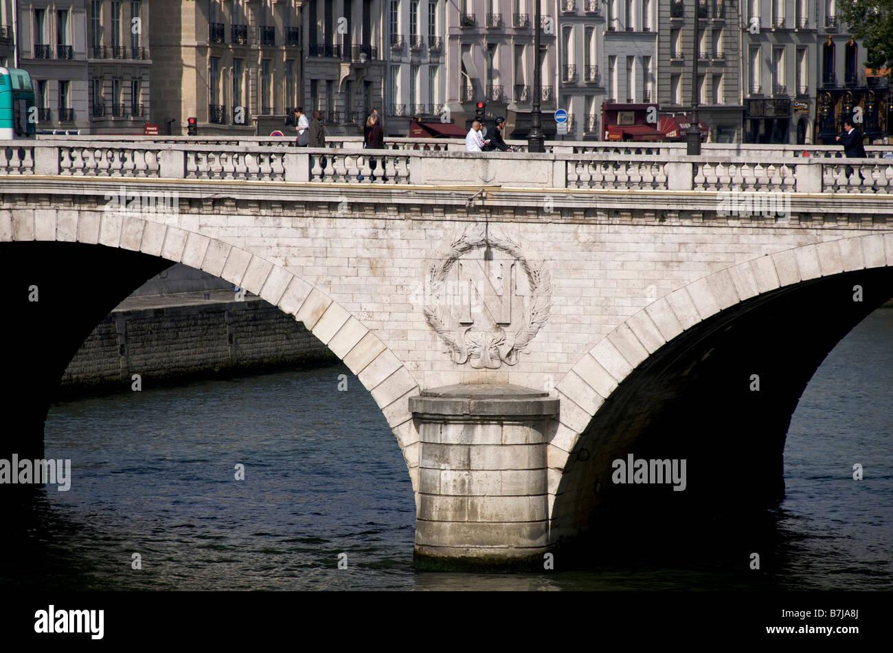 Pont au Change bridge on the Seine river Paris France - Stock Image