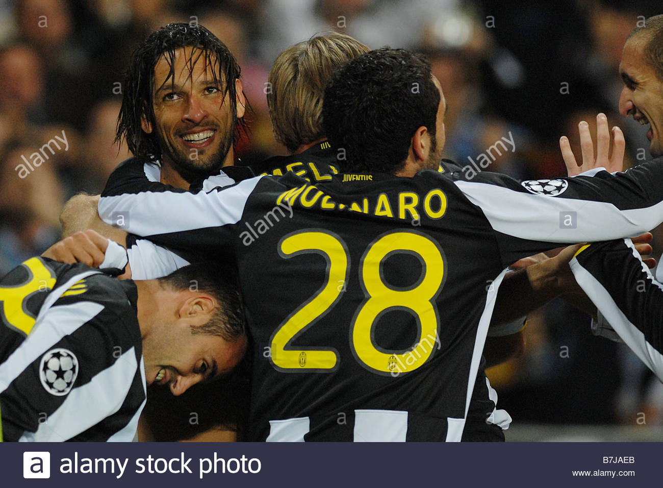 amauri hugged by his team mates'torino 21-10-2008 'football champions league 2008-2009'juventus-real madrid 2-1 - Stock Image