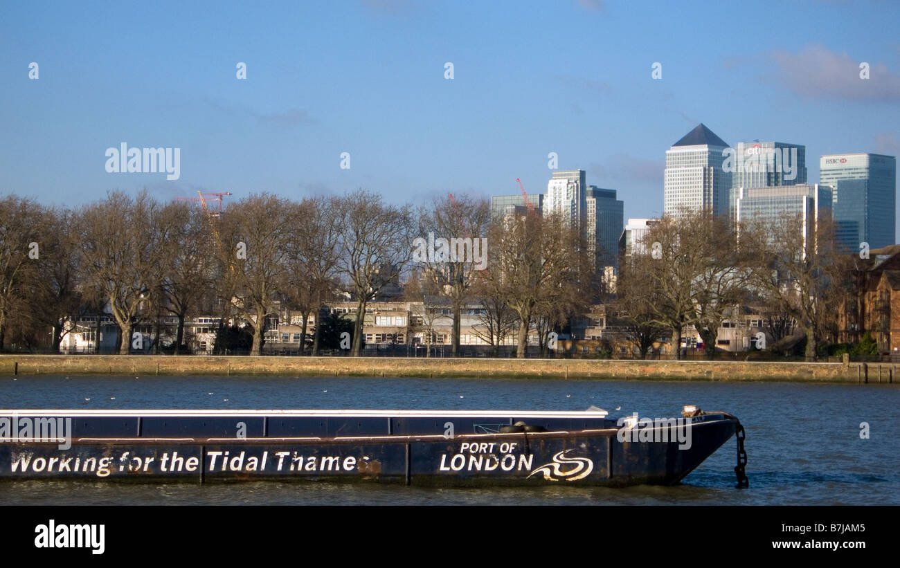 View of Canary Wharf from across the Thames in Greenwich London England UK - Stock Image