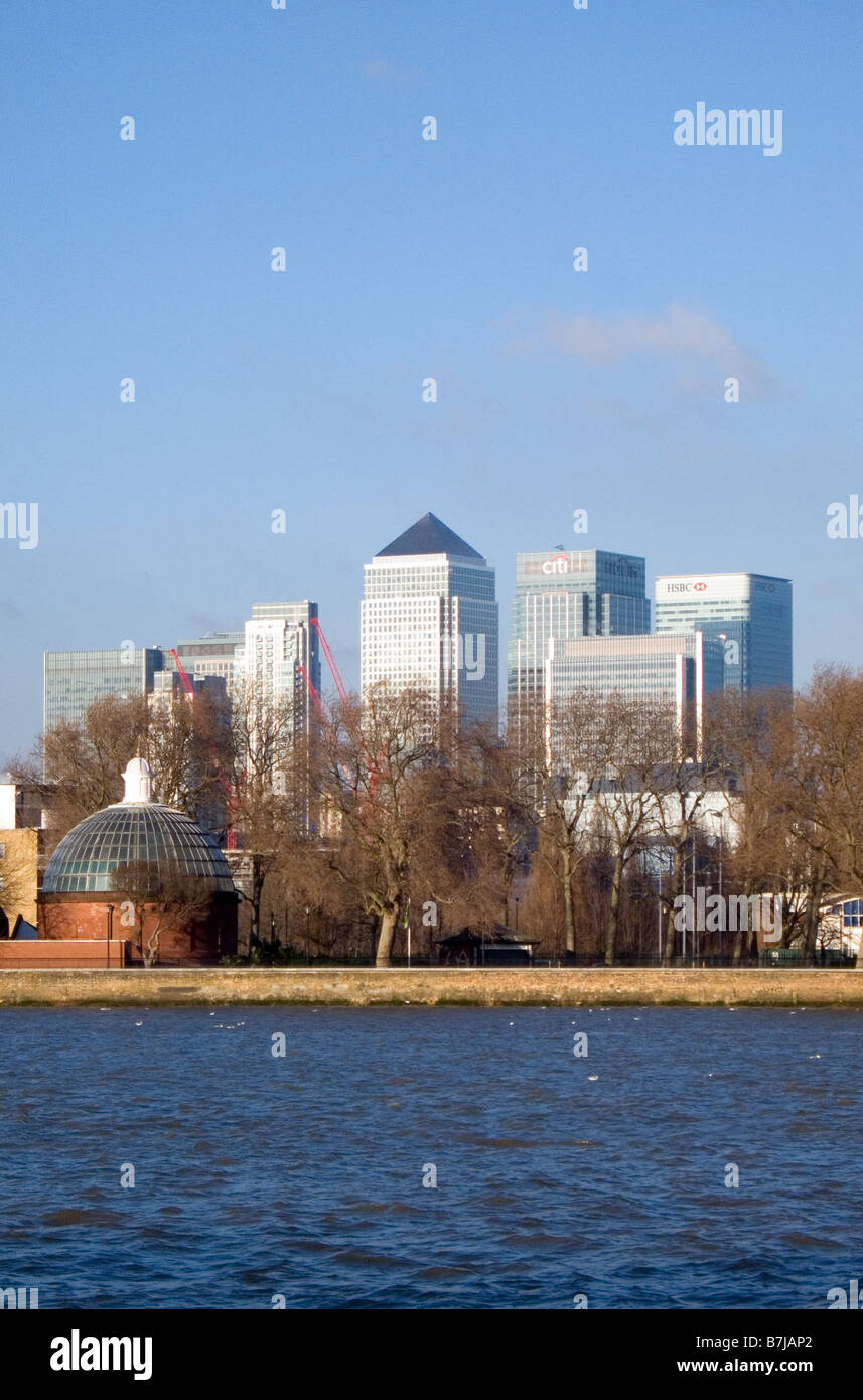 Canary Wharf seen from across the Thames in Greenwich London England UK - Stock Image