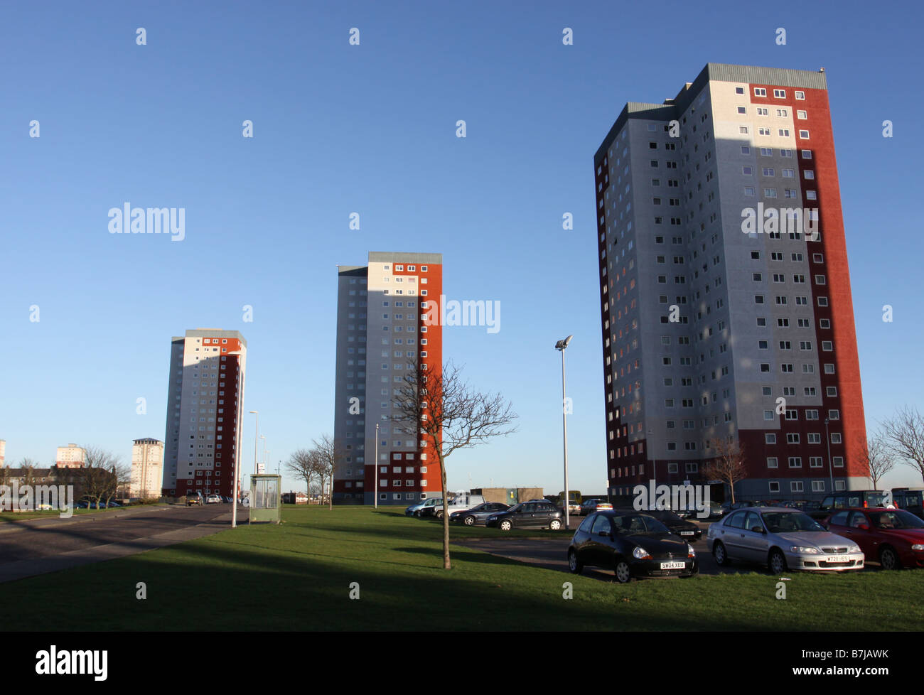council housing residential tower blocks in Aberdeen, Scotland  January 2009 - Stock Image