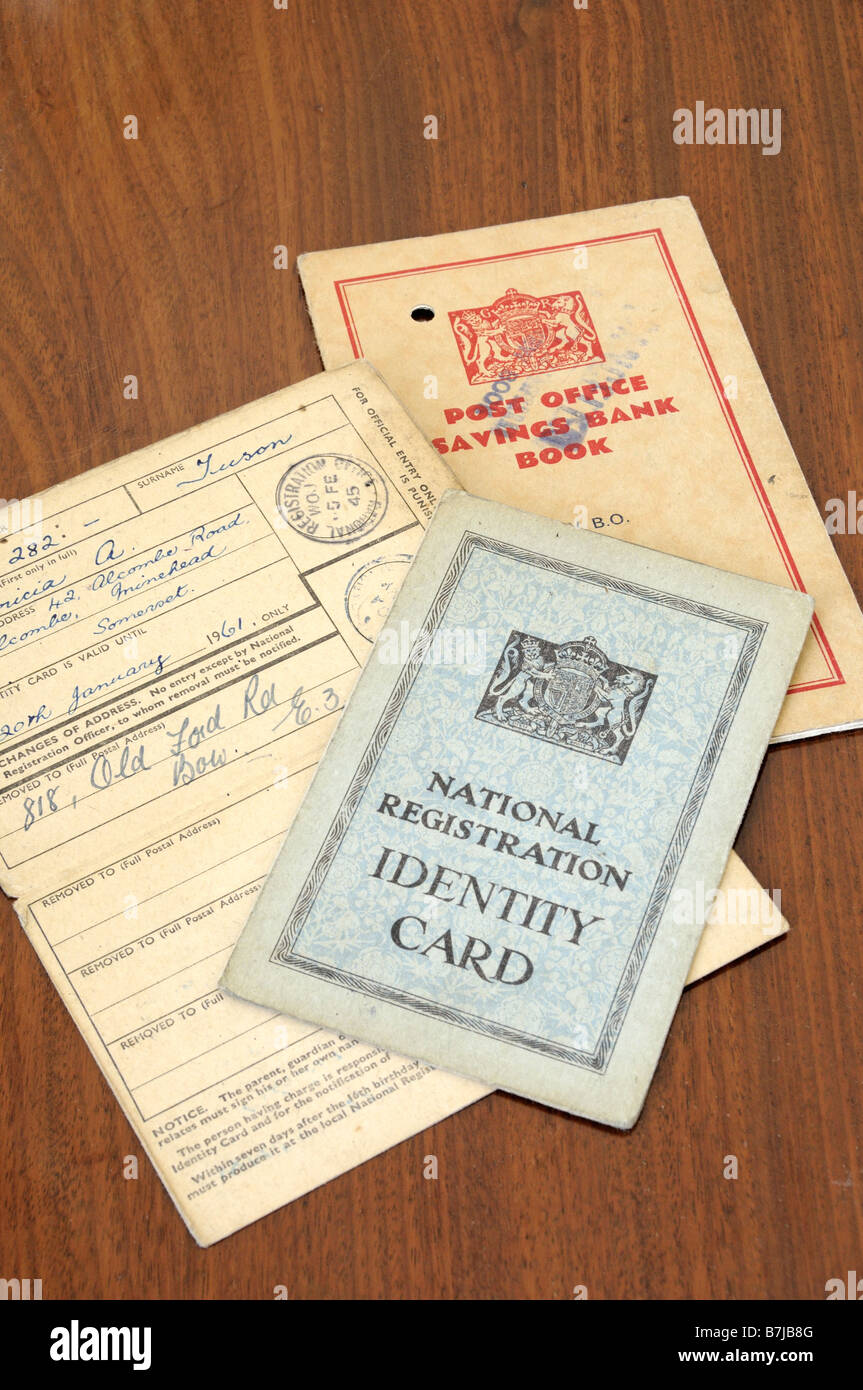 Second World War British National Registration Identity Cards with Post Office savings bank book - Stock Image