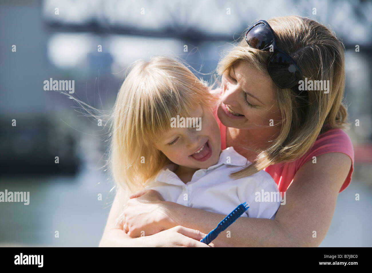 Caucasian Mom and 4 year old Daughter. Sunset Beach, Vancouver, BC - Stock Image