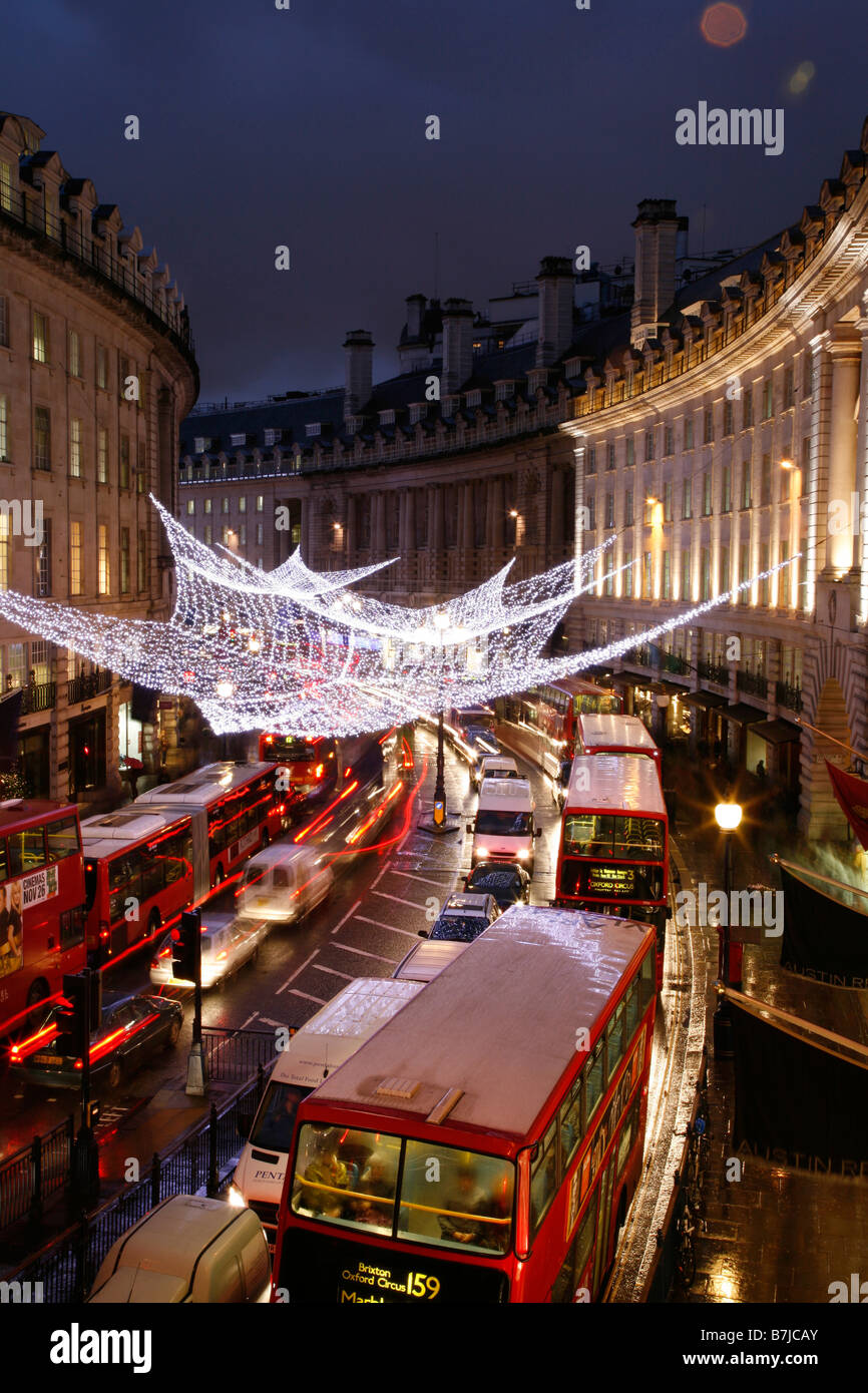 Christmas Lights in the Quadrant in Regent Street, London - Stock Image