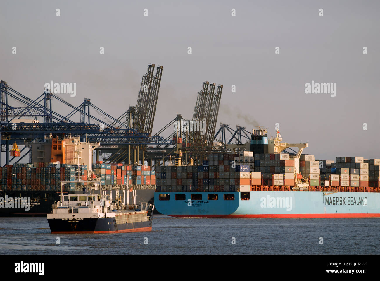 Container ships, Port of Felixstowe, Suffolk, UK. - Stock Image